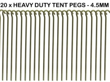 20 x HEAVY DUTY 9 TENT PEGS – 23CM x 4.5MM – MADE FROM GALVANISED STEEL – CURVED HOOK ON TOP – GREAT FOR SECURING TENTS / AWNINGS / GOAL NETS / POND NETTING by We Search You Save -