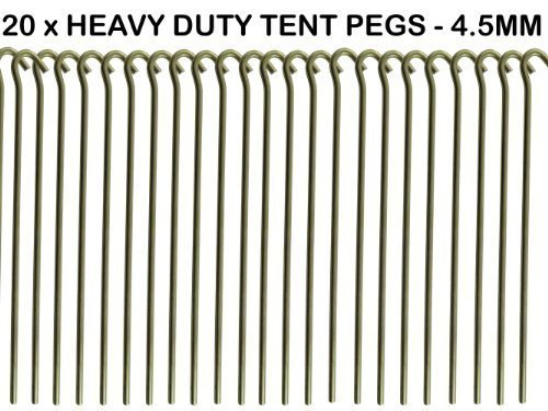 20 x heavy duty 9 tent pegs 23cm x 4 5mm made from galvanised steel curved hook on top. Black Bedroom Furniture Sets. Home Design Ideas