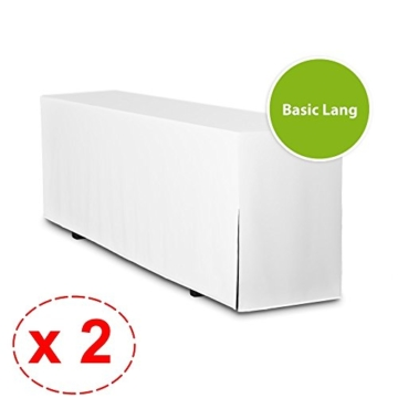 2er Pack Biertischhussen BASIC LANG (nur Tisch 220cm) (Tischbreite: 50cm, Weiß) -