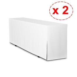 2er Pack Biertischhussen, Hussen für Biertisch, (nur Tisch) Premium Qualität (Tischbreite: 50cm - Weiß) -