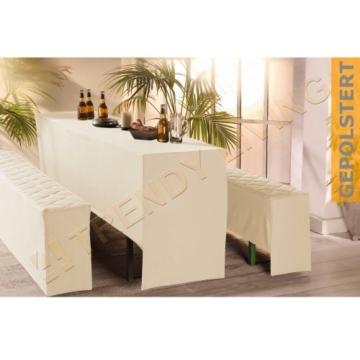 3-tlg. Premium Bierbankhussen-Set | 50x220cm | gepolstert | creme | Bierzeltgarnitur Biertischgarnitur -
