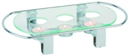 APS 3-flammiger Speisenwärmer 34 x 18cm, Höhe 6 cm, Metall verchromt, mit hitzebeständiger Glasplatte -