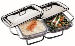 APS Edelstahl Speisenwärmer 45 x 29 x 12cm, mit zwei Deckeln und zwei 1,5L Servierschalen aus Glas, 2 Stövchen verchromt -