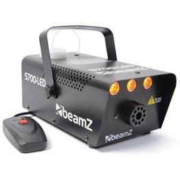 Beamz S700-LED Nebelmaschine mit Flammeneffekt Flammenwerfer (700W mit 250ml Tank, Durchfluss des Nebel 7m³/min, Fernbedienung mit 3m Kabel und Halterung Wand und Decke, 3Minuten Aufwärmzeit) schwarz -
