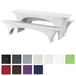 Beautissu® Stretchhusse Bierzeltgarnitur-Set 3tlg - Weiß elastische Biertischhusse 220x70 cm + 2 Bierbankhussen -