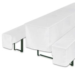 Bellboni Biertischhussen für Bierzeltgarnitur, Bierbank Hussen, weiß, 3er Set für Biertische mit 50 cm Breite -