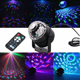 Blingco Mini LED Licht Rotation Automatisch Bühnenbeleuchtung 3W RGB Sprachaktiviertes Kristall Magic Ball Bühnenlicht mit Controller für DJ Disco Ballsaal KTV Stab Stadium Club Party -
