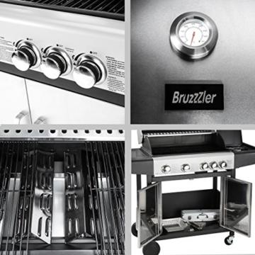 Bruzzzler Edelstahl 4+1 Gasgrill mit Thermometer, 4 Brenner Einheiten + Seitenkocher / 14KW Nennleistung, silber / schwarz -