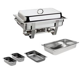 Chafing Dish 9L. Edelstahl inkl. GN 1/1 GN 1/2 2x GN 1/4 Speisewärmer Warmhaltegerät -