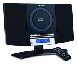 Denver 12120530 Musik-Center (vertikaler CD-Player mit LCD-Display, AUX-In, Wandhalterung, Weckerradio) schwarz -