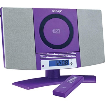 Denver 12120540 Musik-Center (vertikaler CD-Player mit LCD-Display, AUX-In, Wandhalterung, Weckerradio) violett -