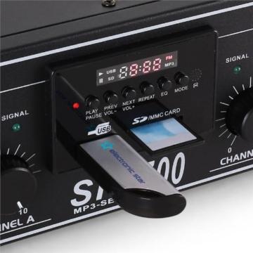 DJ-27 PA-Komplett-SET / lautstarkes Musikanlage mit 2000 Watt PA-Boxen & Verstärker inkl. Kabel-Set + Mikrofon (für bis zu 250 Personen, USB/SD-Slot für MP3-Datenträger,4x 30cm Subwoofer) -