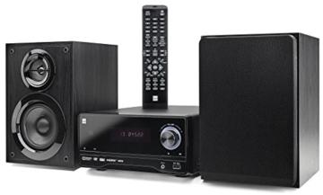 Dual DVD-MS 120 DVD-Micro Anlage mit CD/DVD-Player (UKW/RDS-Tuner, 50 Watt, USB, HDMI, AUX-In, On Screen Display, Fernbedienung) schwarz -