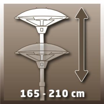 Einhell Elektro Heizpilz Terrassenheizer NHH 2100 (2100 Watt, 3 Heizstufen, Teleskoprohr aus rostfreiem Stahl, verstellbar bis 210 cm, leise) -