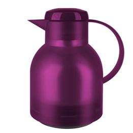 Emsa 507075 Isolierkanne, 1 Liter, Quick Press Verschluss, 100% dicht, Transluzent Himbeer, Samba -