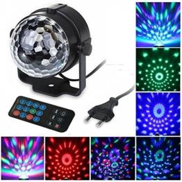 FeelGlad® 7 Farben RGB 6W Kristall Magic Ball Effect Licht Disco DJ drehtbare Bühnenbeleuchtung automatisch Sound aktiviert Fernsteuerung Geeignet für Weihnachtsparty Disco Mini Party Klub (EU-Stecker) -