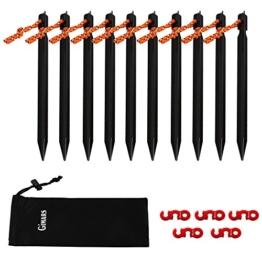 GIMARS 10STK Heringe Zeltheringe Erdnagel mit Seil & 5STK Seilspanner Ideal für Camping, Strand, Außen, schwarz -