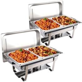 Goplus 2er Set Chafing Dish Speisewärmer Warmhaltebehälter Edelstahl Warmhaltegerät 4 Behälter -