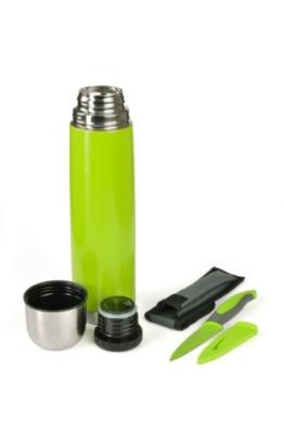Isolierflasche 1 L , Dichter Drehverschluss farbig inkl. Allzweckmesser, Farbauswahl:C6 grün -