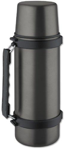 Isosteel VA-9553QAT Isolierflasche 1,0 L, 18/8 Edelstahl, Quickstop-Einhandausgießsystem, Trinkbecher und Griff, titan-grau -