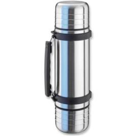 Isosteel VA-9562DQ Duo Vakuum-Isolierflasche 1,0 L aus 18/8 Edelstahl mit Quickstop-Einhandausgießsystem und 2 abschraubbaren Trinkbechern -