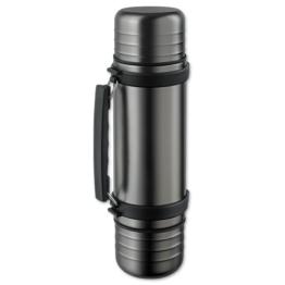 Isosteel VA-9562DQAT Duo Vakuum-Isolierflasche titan-grau 1,0 L aus 18/8 Edelstahl mit Quickstop-Einhandaus... und 2 abschraubbaren Trinkbechern -
