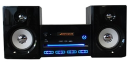 Kompaktanlage Design Stereoanlage Mini Hi-Fi Musikanlage CD USB Player Radio schwarz mit LED Beleuchtung -