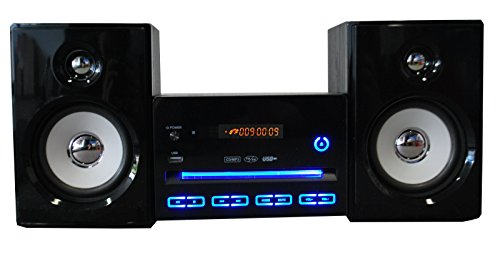 kompaktanlage design stereoanlage mini hi fi musikanlage cd usb player radio schwarz mit led. Black Bedroom Furniture Sets. Home Design Ideas