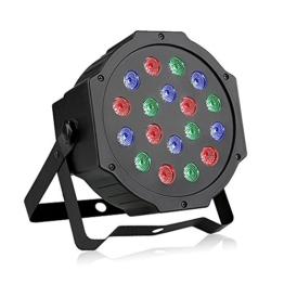 LED Par Licht, Blusmart 24W 18 LED Discolicht mit Musik-activated, Auto-run und DMX512 Steuermodus, Verschiedene Farben Kombinationen von Rot, Grün und Blau, Multi-Winkel drehendem Halter, Europäische Norm-Stecker (18 LED) -