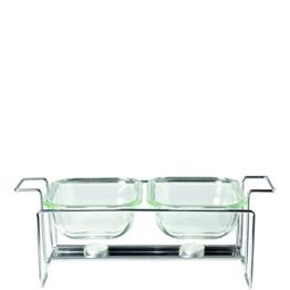 Leonardo 034309 Set 3-teilig Glas Auflaufformen Gusto 15 x 20 cm mit Ständer -