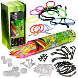Mega Knicklicht Party Pack - 100 Knicklichter KNIXS, 100 x 3D-Verbinder, 5 x Kreisverbinder, 2 x 7-Lochverbinder, 4 Ohrringe, 5 Haarreifen, 5 Brillen -