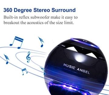 MUSIC ANGEL freischwebender Lautsprecher mit Bluetooth 4.0 Multifarben LED kabellos 360° mit Mikrofon (schwarz) -