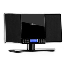 oneConcept V14 Stereoanlage Kompaktanlage Musikanlage HiFi-Anlage (MP3-fähiger CD-Player, UKW/MW-Radiotuner, AUX, Wecker, Befestigungspunkte zur Wandmontage) schwarz -