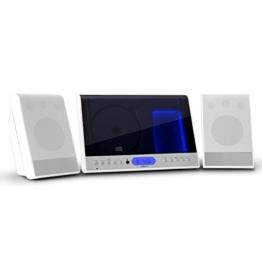 oneConcept Vertical 90 Stereoanlage Design Kompaktanlage mit CD-Player (MP3-fähig, Radio-Tuner, Wecker, Fernbedienung, Wandmontage geeignet) weiß -