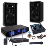PA Party Musikanlage Boxen 2400 Watt Endstufe USB MP3 Mixer Funkmikrofon DJ-Party 3 -