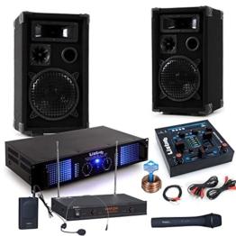 PA Party Musikanlage Boxen 2400 Watt Endstufe USB MP3 Mixer Funkmikrofon DJ-Party 3 -