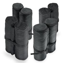 Pavillon Gewichte, 4er Set, schwarz zum Befüllen mit Sand aus 180g Polyester mit PA Beschichtung, 14x42 cm für Bierzelt, Partyzelt, Gartenpavillon -