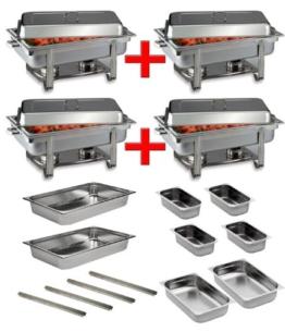 Profi SET 4x Chafing Dish 8x GN Behälter Warmhaltebehälter Speisewärmer -