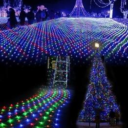 SOLMORE 3m x 3m 300 LED Lichterkette Vorhang Licht Schnur Eiszapfen Eisregen für Innen Weihnachten Party(Bunt) -