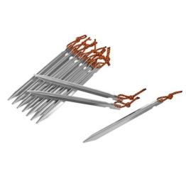 Zeltheringe, Isport 10 Stück Heringe mit Spannseil Bodenheringe Erdnagel V-förmig Zeltnagel aus Aluminiumlegierung für Camping Silber -