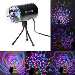 Zetong Mini 3W Disco RGB Stimme Aktiviert LED Lichteffekt Bühnenbeleuchtung Kristalleffekt Lampe Projektor für Club Party Neu -
