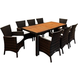 17tlg PolyRattan Sitzgruppe Akazienholz Gartenmöbel Lounge Gartenset Essgruppe Sitzgarnitur Rattan -