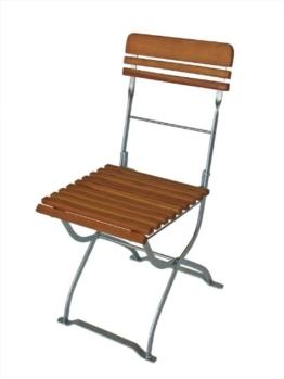 2 Stück Klappstuhl MÜNCHEN, Stahl blank verzinkt und transparent pulverbeschichtet, Holz Robinie -