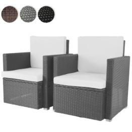 2er Set Loungesessel aus Polyrattan Gartenmöbel inkl. Sitzkissen -Farbwahl- schwarz, grau oder braun -