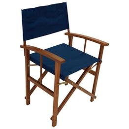 2er Set Regiesessel klappbar, Gestell Eukalyptusholz, Bezug dunkelblau, FSC®-zertifiziert -