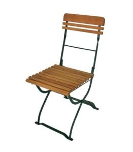 2x Biergartenstuhl MÜNCHEN klappbar, Stahlgestell grün, Holz Robinie -