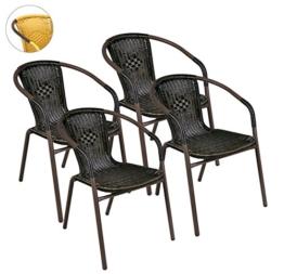 4er Set Bistrostuhl Stapelstuhl Balkonstuhl Poly Rattan Gartenstuhl Terrasse Stuhl braun -