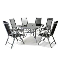7tlg. Gartengarnitur Alu Sitzgruppe Sitzgarnitur Gartenstühle Glastisch schwarz -