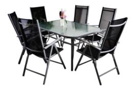 7tlg. Gartengarnitur Alu Sitzgruppe Sitzgarnitur Glastisch Gartenstühle schwarz -