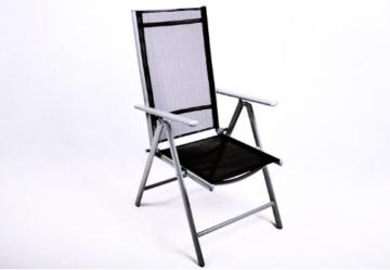 9tlg. Gartengarnitur Sitzgarnitur Sitzgruppe Gartenmöbel Alu Aluminium mit Glastisch 6 klappbare Stühle Hochlehner 2 Klapphocker schwarz -